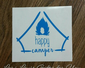 Happy Camper Decal, Tent Decal, Tent Camping Decal, rv, happy campers decal, hiking