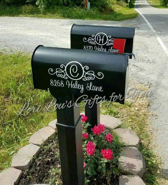 Mailbox Decal Address Decal Mailbox Monogram Mailbox Initial Mail Box Decal Personalized Mailbox Address Monogram Custom House Number Decal