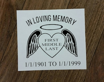 In Loving Memory Decal Rememberance Decal, sympathy, remember, loved one, remembering