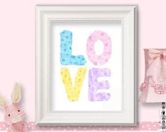 LOVE - Pastel watercolor letters, printable nursery art, little girl, baby gift, shower gift, wall art - HC 24