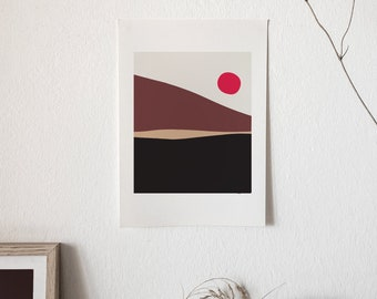 Matisse Inspired Landscape Giant Poster  - modern Art, art and collectibles, Brown mountain with red sun