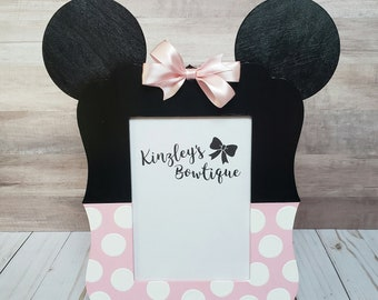Minnie mouse inspired wood picture frame, 5x7 picture frame, birthday decor, room decor, first birthday, Minnie mouse birthday, choose color