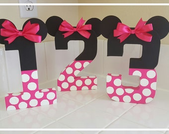 Minnie Mouse Inspired Photo Prop Birthday Decoration Number Paper Mache Props