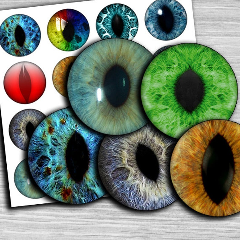 30mm circle Images Glass /& Resin for Pendants cabochon cameo td177 1.25 1.5 1 inch Eyes images 25mm circles Digital Collage Sheet