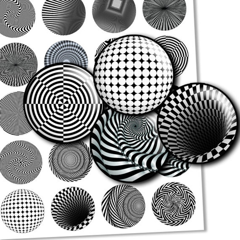 Optical images black and white 1 inch circles Printable Images bottlecaps images cabochon- td121 30mm digital collage sheet 1.5 1.25