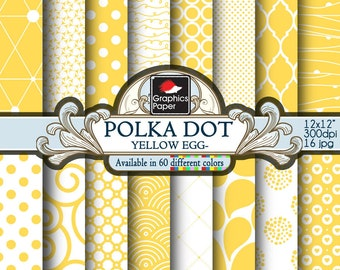 Yellow Egg Polka Dot Digital Paper, Yellow and white Geometric Paper with Printable Paisley Patterns and Yellow Quatrefoil Scrapbook Papers