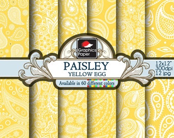 Yellow Egg Paisley  Digital Paper, Yellow and white Indian Paisley Paper with Printable Paisley Patterns and Yellow Scrapbook Papers