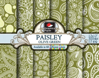 Green Olive Paisley Digital Paper: green Paisley Paper with Printable Paisley Patterns, Olive Green Scrapbook Papers, Instant Download