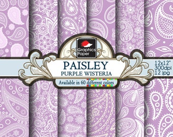 "Purple Wisteria Paisley Digital Paper, Purple Wisteria Paper with Printable Paisley Patterns, Purple Wisteria Scrapbook Papers 12x12"""