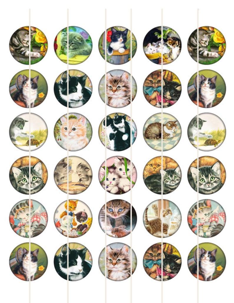 Cat Digital collage sheet black cat 1 inch circles digital bottle cap images 1 Inch Circles Crazy Cat Kitten  image for pendant Circles Cats