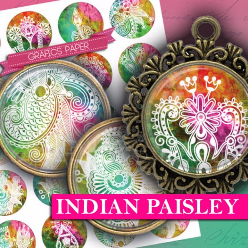 30mm 1 inch Bottlecap Images Digital Collage Sheet  printable download rounds Indian Paisley Images Instant Download 1.5 1.25 td323