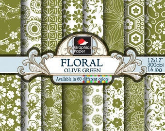"""Green Olive Floral Digital Paper: green Flowers Paper with Printable Paisley Patterns, Olive Green Scrapbook Papers 12x12"""" Paper Pack"""