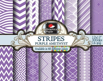Amethyst Purple Striped Digital Paper: Purple Geometric Paper with Printable Paisley Patterns and Purple Amethyst Quatrefoil Scrapbook Paper
