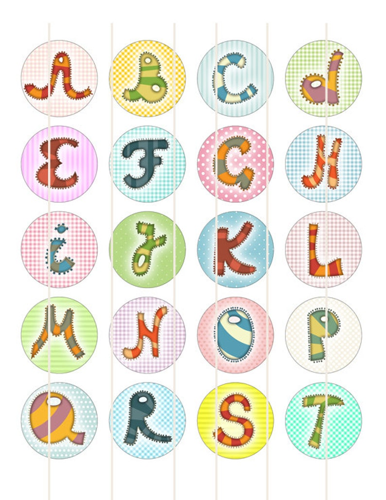 30mm Alphabet letters 1 inch Circle Images Printable cabochon download td371 1.25 Initial digital collage sheet 1 inch sheet 1.5
