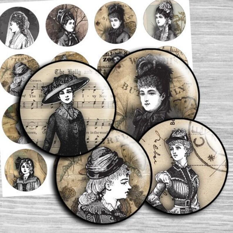 1.25 Vintage Women Digital Collage Sheet round Printable Circles  1.5 30mm 1 inch digital circles printable Bottle caps td47