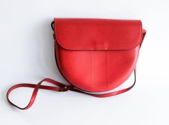 Vintage leather crossbody bag, Red vintage purse,