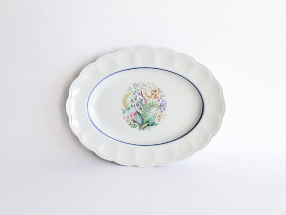 ONE Antique GUSTAVSBERG Plate Roses Floral London Pattern Vintage Swedish Plates Blue White Plate 9 inches 1915 Antique Dinner Plate