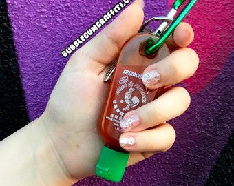Sriracha, sriracha bottle, sriracha keychain, empty sriracha bottles, sriracha key chain, sriracha gift, stocking stuffers, stocking stuffer