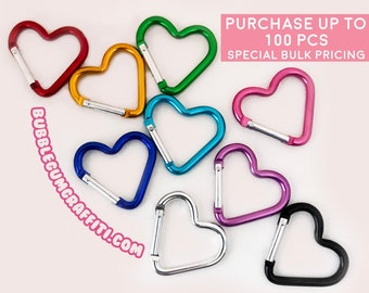 5 Heart carabiners, heart carabiner, key rings, heart clips, heart clasps, heart hooks, heart shaped key ring, snap ring, heart squeeze clip