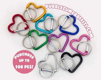 5 Heart carabiner, heart clip, heart shaped key ring, heart shape keyring, colorful heart keychain, metal heart snap key fob, heart key fob