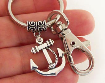 Anchor keychain, anchor key chain, anchor keychains, anchor and rope key chains, nautical keyring, small gifts, car accessories, beach key