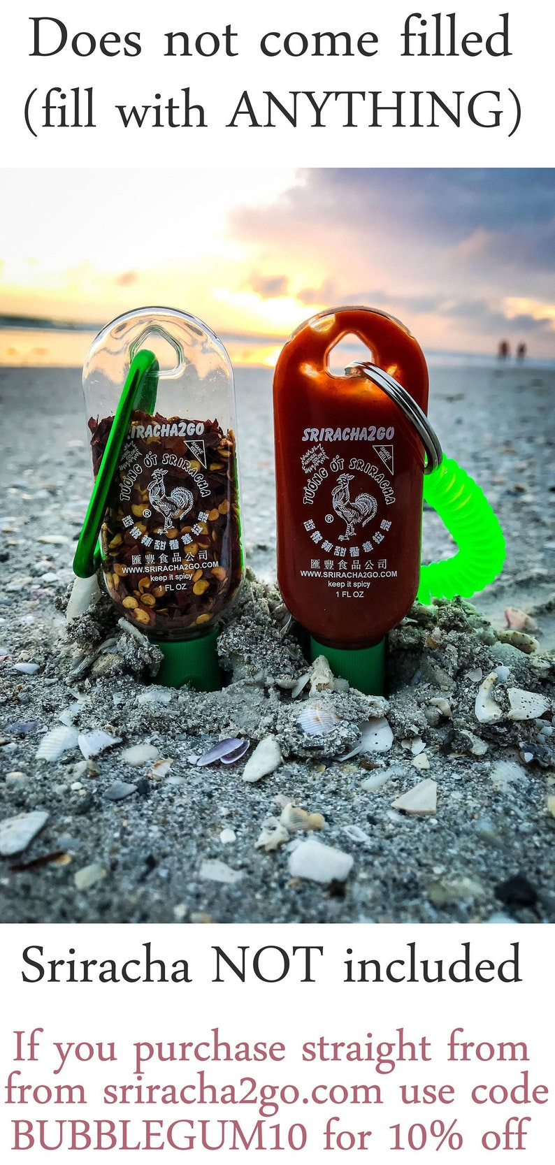 Sriracha keychain sriracha travel 1 ounce bottle key chain image 0