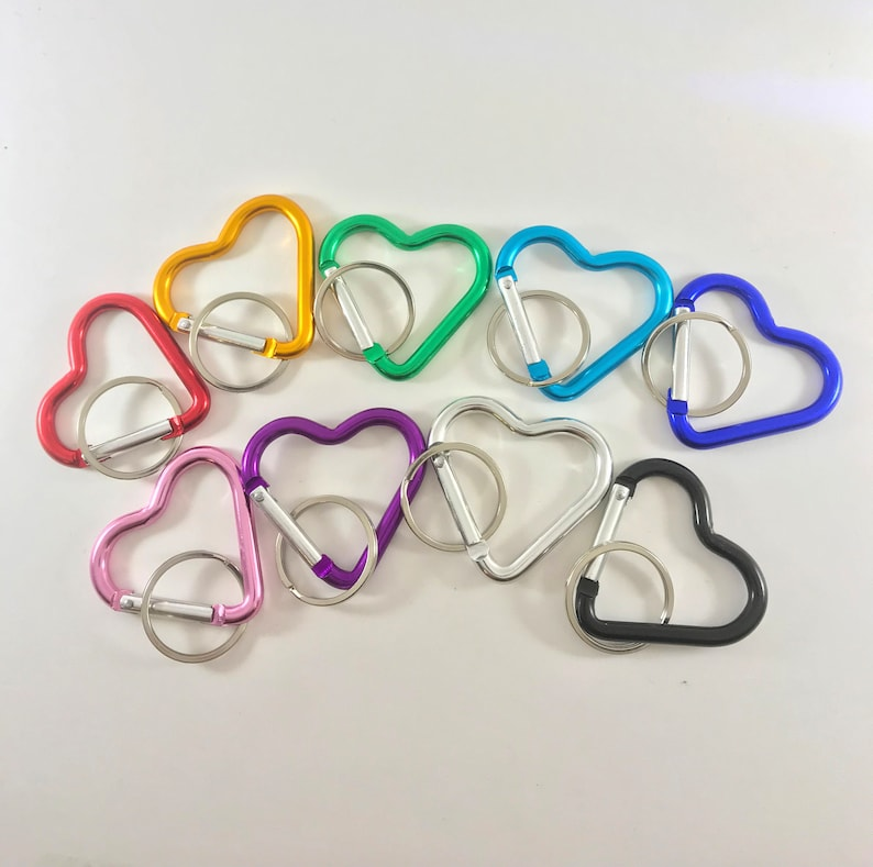 Heart carabiner with key ring heart shaped clip keychain image 0