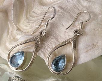 "Aquamarine 925 Sterling Silver Earrings- ""Treasure of Sea Goddesses"""