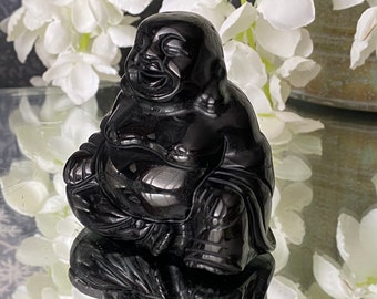 """Black Obsidian Crystal Buddha Figurine Carving """" Bringing Protection, Happiness, Prosperity & Luck""""."""