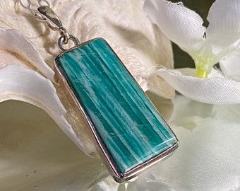 "Beautiful Amazonite Crystal 925 Sterling Silver Hand Crafted Pendant- ""Calming Yin Yang balance""."