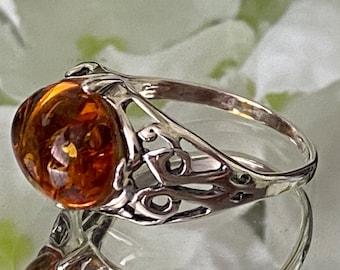 "Fabulous Rare Baltic Cognac Amber 925 Sterling Silver Ring- ""Bringing Wisdom, balance & patience""."