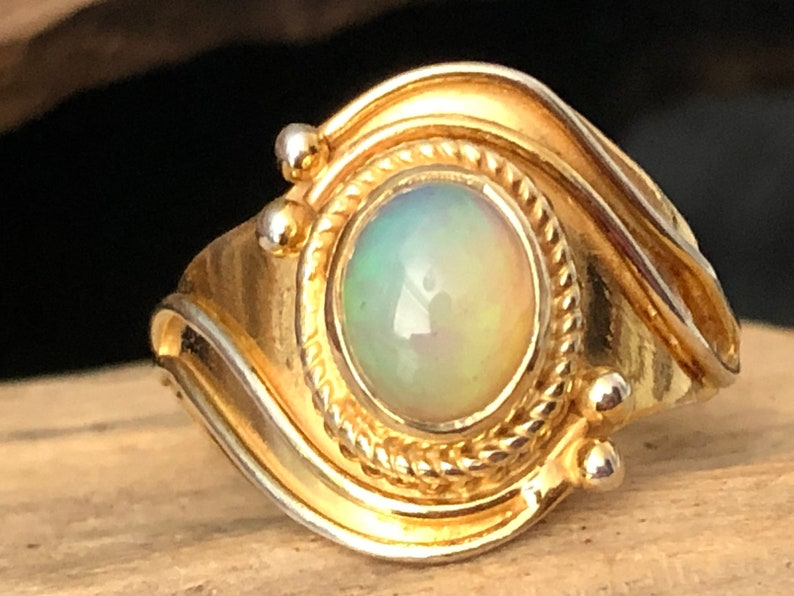 Opal 14ct Gold on 925 Sterling Silver Silver Classic Style image 0