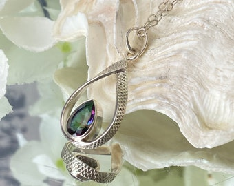 """Fabulous Mystic Rainbow Topaz 925 Sterling Silver Pendant-""""Clarity of communication and understanding""""."""