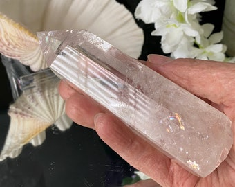 """Clear Quartz Polished Point with Rainbows and multiple Inclusions- """"For Vitality & Clear Life Force Energy""""."""