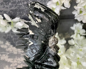 """Black Quartz Crystal Cluster Point Fairy Carving-  """"bringing you Protection and good luck""""."""