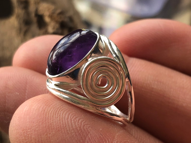 Uruguayan Amethyst 925 Sterling Silver Statement Ring New Age
