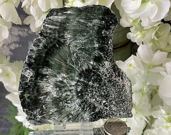 """Stunning Rare  Russian Seraphinite Large Polished Slice (Siberia)-""""Brings connection to the angelic realm and the Divine Feminine""""."""