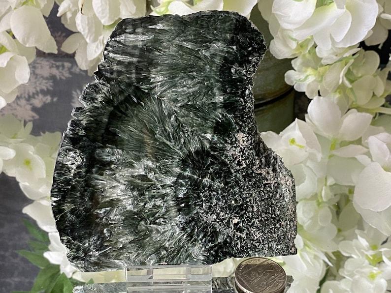 Stunning Rare  Russian Seraphinite Large Polished Slice image 0