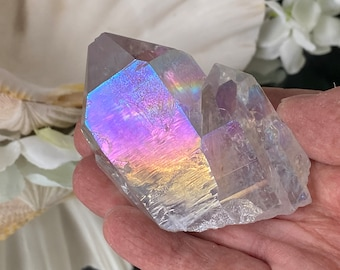 """Angel Aura Quartz (Aura Lite) Crystal Double Point - """"Fill your soul with endless rays of joy, happiness, and uplifting energy""""."""