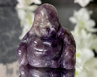 """Baby Carved Banded Amethyst Crystal Buddha Figurine -""""Stimulates visions when used as a focus for journeying""""."""