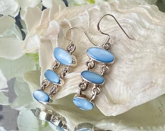 "Blue Shell 925 Sterling Silver Earrings-""Feminine symbol of birth & good fortune""."