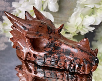"""Fabulous Jasper Crystal Dragon Head Carving-""""The Stone of Endurance and Nurturing""""."""