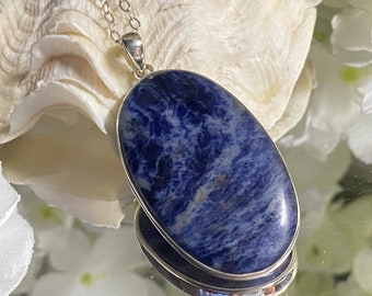 Sodalite 925 Sterling Silver Pendant - Emotional balance  Intuition Clarity