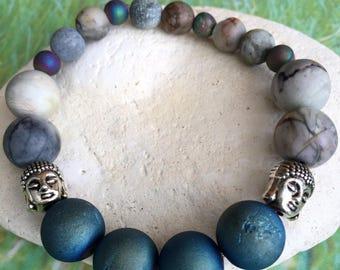 Steel Blue Druzy & Picasso Jasper Buddha Head Bracelet