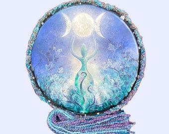 "Triple Moon Goddess Original Artist Hand Painted 18"" Shaman Drum & Beater."