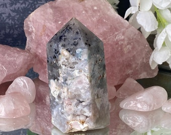 """Flower Agate Crystal Tower Point (Madagascar).- """"Reach your highest potential""""."""