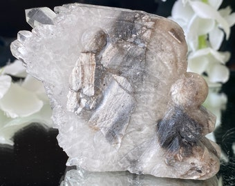 """Clear Quartz Crystal Cluster (The Master Healer) on Natural Carved Grey Agate Fairy- """" May all your Wishes come true""""."""