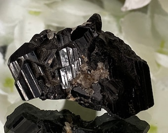 "Natural Black Tourmaline Mini Cluster collectors Specimen (Minas Gerais Brazil) - ""Grounding & protection""."