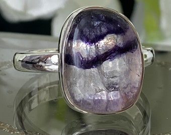 Beautiful Rare Unique Derbyshire Blue John Hand crafted 925 Sterling Silver Ring. UK size P1/2 US Size 8