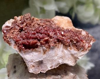 "Rare Vanadinite in Baryte Specimen (Morocco) - ""meditate with Vanadinite to help bring your dreams into reality""."